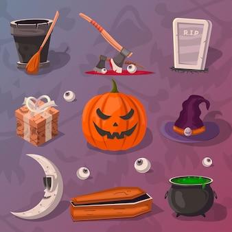 Conjunto de desenhos animados de festa de halloween