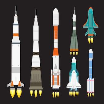 Conjunto de desenhos animados de foguete de navio, exploração gráfica de lançamento espacial.