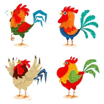 Conjunto de desenhos animados de galinha isolado no fundo branco.