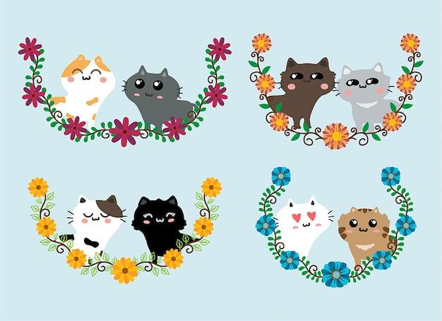 Conjunto de desenhos animados de gatos fofos vetor amor