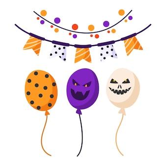 Conjunto de desenhos animados de halloween - balões festivos assustadores fofos com rostos e enfeites e guirlanda festiva com bandeiras