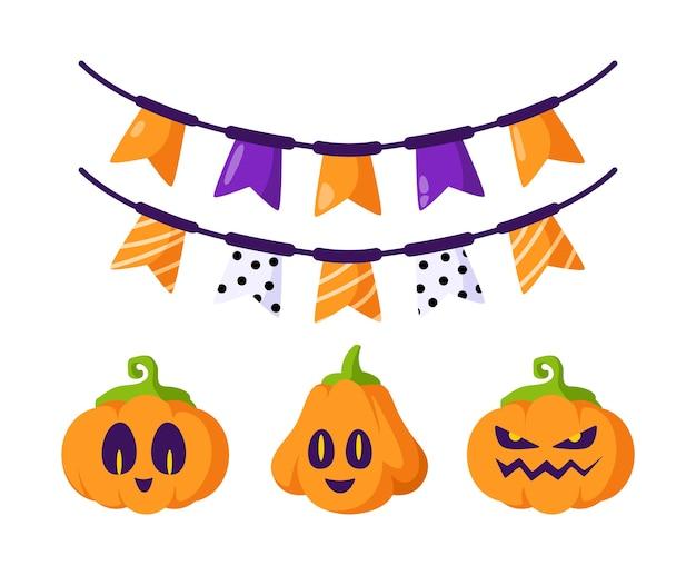 Conjunto de desenhos animados de halloween - lanterna de abóbora esculpida, rostos assustadores e guirlanda festiva - feriado em branco