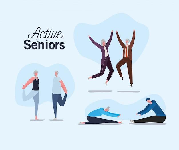 Conjunto de desenhos animados de homens e mulheres idosos, pulando e fazendo design de ioga, tema de atividades