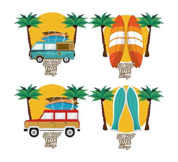 Conjunto de desenhos animados de horário de verão