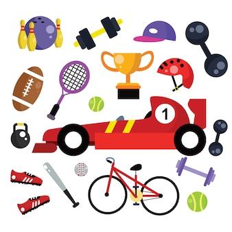 Conjunto de desenhos animados de ícone do esporte