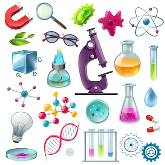 Conjunto de desenhos animados de ícones de ciência