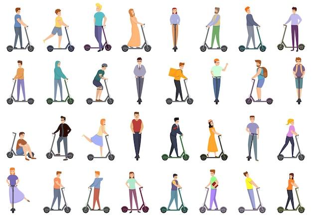 Conjunto de desenhos animados de ícones de scooters elétricos