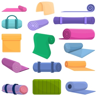 Conjunto de desenhos animados de ícones de tapete de ioga para web design