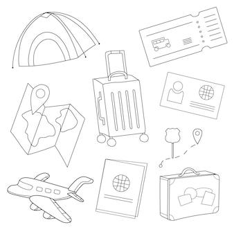 Conjunto de desenhos animados de ícones de turismo, viagens aéreas, planejamento de férias de verão, aventura, viagem de férias. ilustração vetorial - livro para colorir