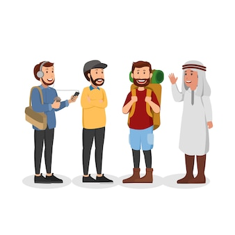 Conjunto de desenhos animados de ilustração casual homem árabe