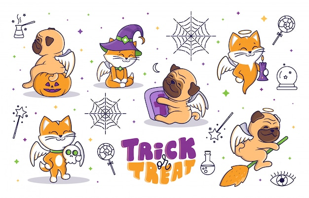Conjunto de desenhos animados de ilustração de halloween com ícones lineares e letras de doces ou travessuras.