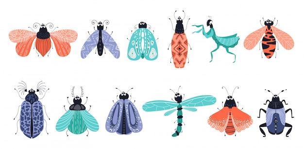 Conjunto de desenhos animados de insetos ou besouros, borboletas