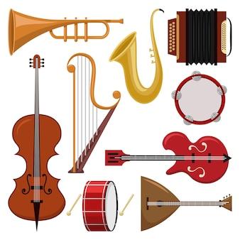 Conjunto de desenhos animados de instrumentos musicais isolado.