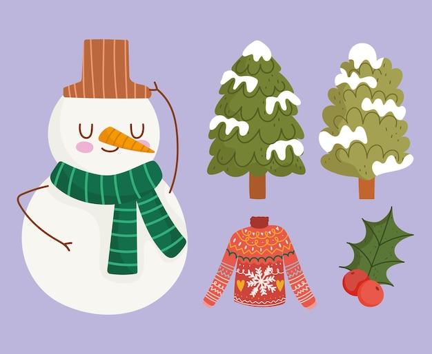 Conjunto de desenhos animados de inverno boneco de neve árvores e ícones de bagas de azevinho