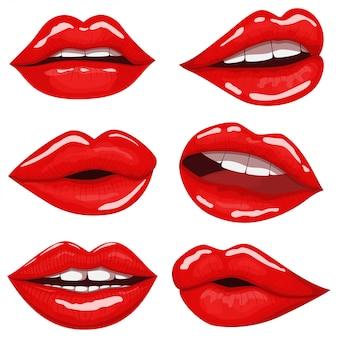 Conjunto de desenhos animados de lábios vermelhos isolado no branco