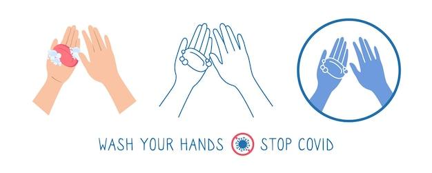 Conjunto de desenhos animados de lavagem de sabonete de ícone de mão pare infográfico de coronavírus
