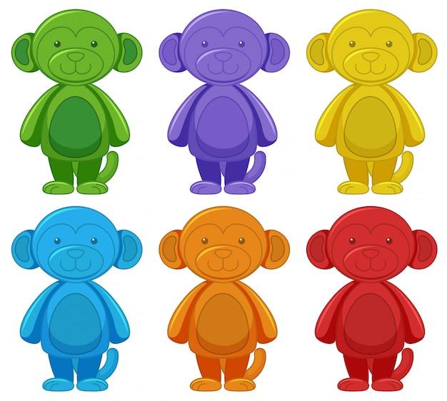 Conjunto de desenhos animados de macaco