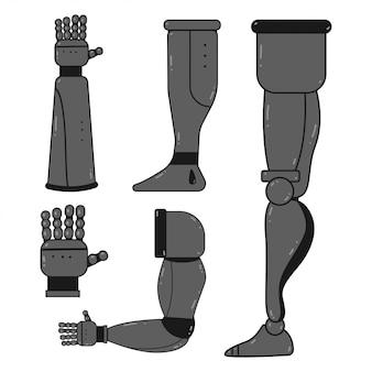 Conjunto de desenhos animados de mãos e pernas de robô isolado no fundo branco. ilustração do conceito de próteses.