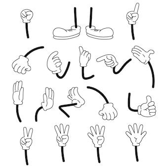 Conjunto de desenhos animados de mãos e pernas em tênis. braços enluvados de desenho animado.