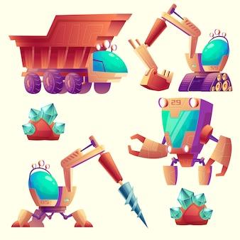 Conjunto de desenhos animados de máquinas de mineração para outros planetas, dispositivos futuristas.
