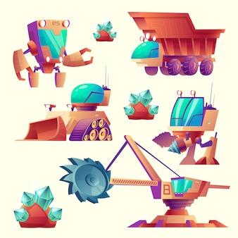 Conjunto de desenhos animados de máquinas de mineração para planetas, dispositivos futuristas.
