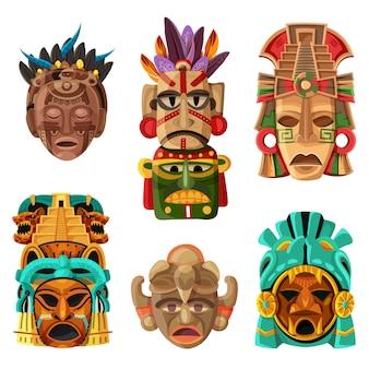 Conjunto de desenhos animados de máscara maia