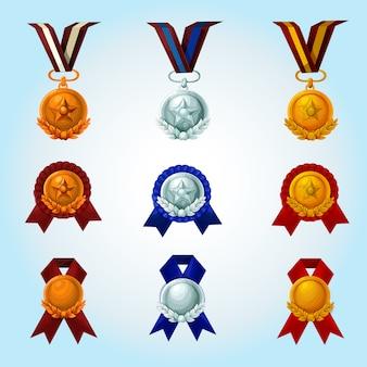 Conjunto de desenhos animados de medalhas
