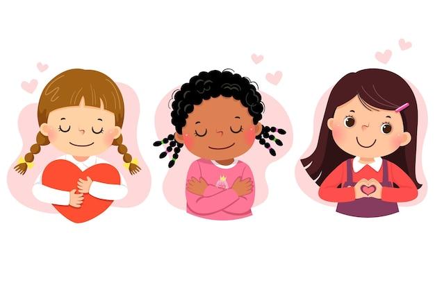 Conjunto de desenhos animados de meninas se abraçando. amor próprio, autocuidado, conceito positivo de felicidade.