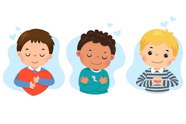 Conjunto de desenhos animados de meninos se abraçando. amor próprio, autocuidado, conceito positivo de felicidade.