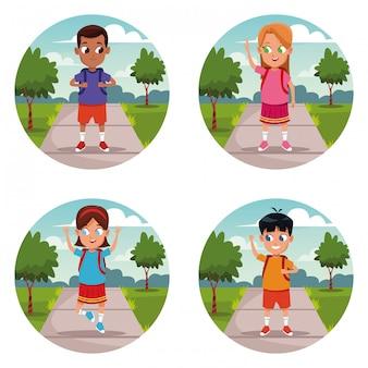 Conjunto de desenhos animados de mochila de crianças de escola
