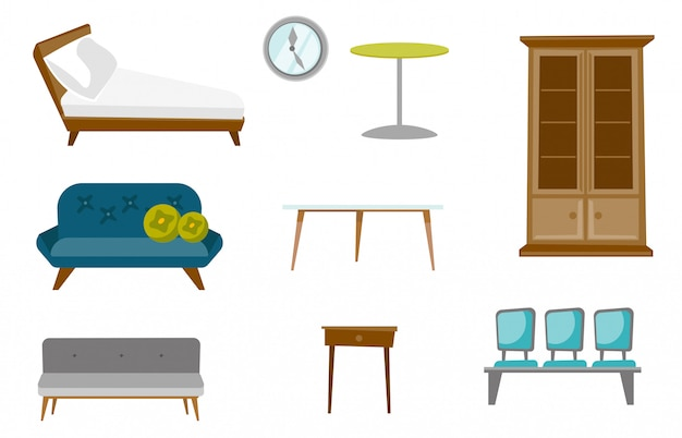 Conjunto de desenhos animados de móveis