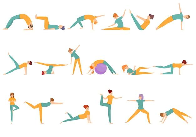 Conjunto de desenhos animados de mulher praticando pilates