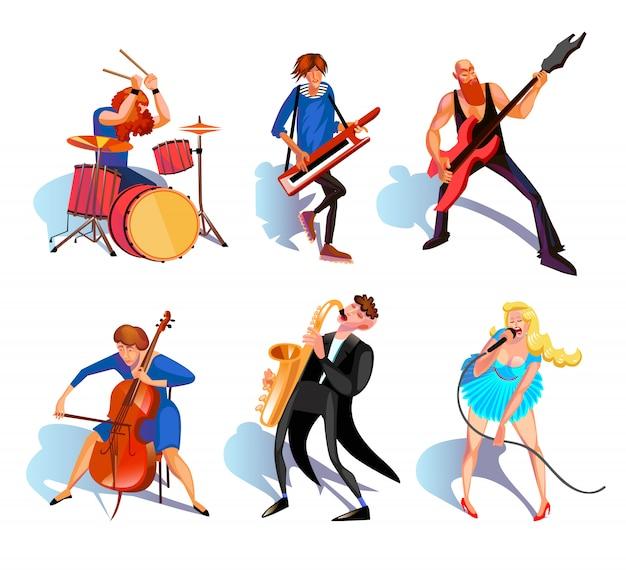 Conjunto de desenhos animados de músicos