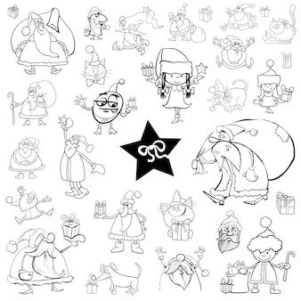 Conjunto de desenhos animados de natal
