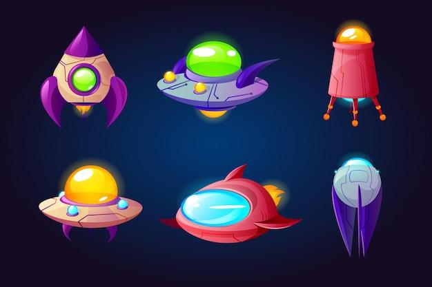 Conjunto de desenhos animados de naves espaciais alienígenas