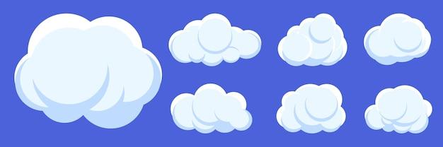 Conjunto de desenhos animados de nuvens brancas