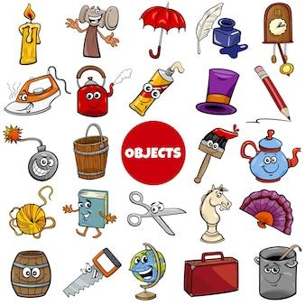 Conjunto de desenhos animados de objetos relacionados ao uso diário ou doméstico