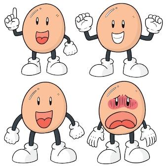 Conjunto de desenhos animados de ovo