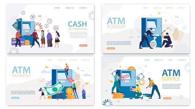 Conjunto de desenhos animados de página de destino de serviços financeiros atm