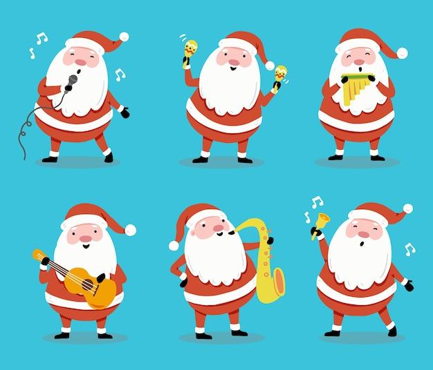 Conjunto de desenhos animados de papai noel em diferentes poses com instrumento musical para banner de natal, ilustração de cartão de felicitações. coleção de personagens de papai noel.