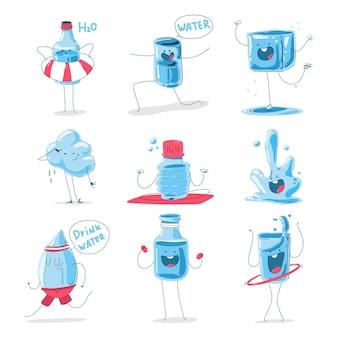 Conjunto de desenhos animados de personagens de água bonito isolado em um fundo branco.