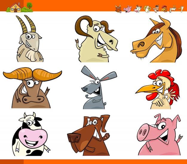 Conjunto de desenhos animados de personagens de animais de fazenda