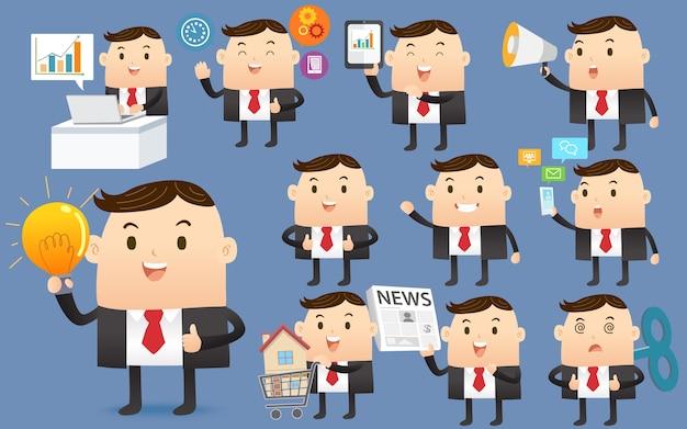 Conjunto de desenhos animados de personagens de empresário