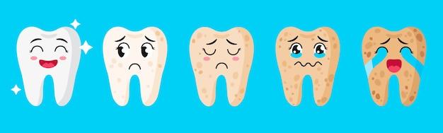 Conjunto de desenhos animados de personagens fofinhos de dentes com diferentes emoções, mostrando estágios de brancura e saúde dos dentes.
