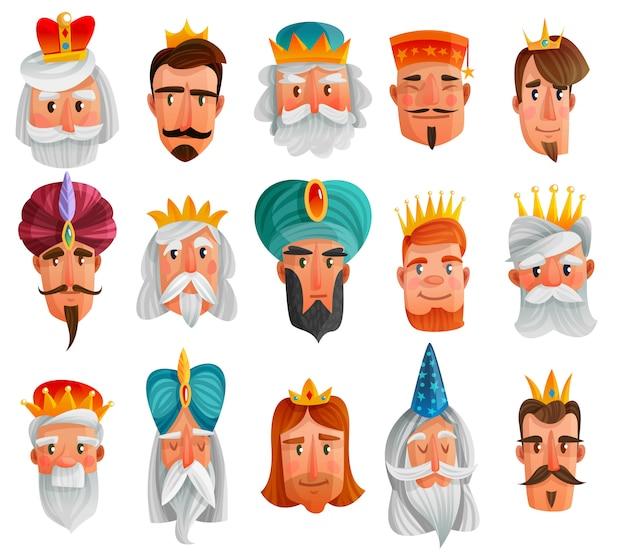 Conjunto de desenhos animados de personagens reais