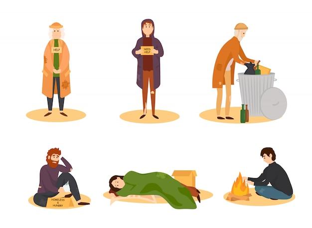 Conjunto de desenhos animados de pessoas sem-teto