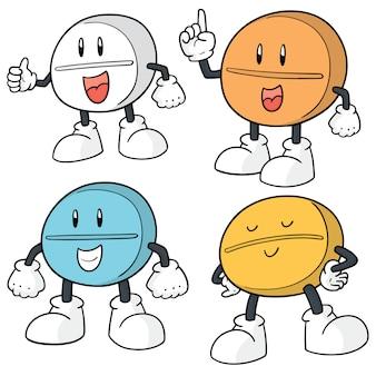 Conjunto de desenhos animados de pílula