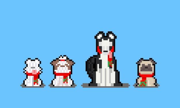 Conjunto de desenhos animados de pixel art de personagem de cachorro com lenço vermelho
