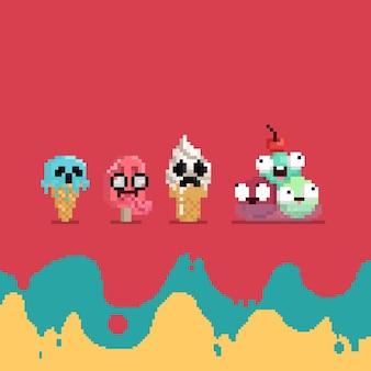 Conjunto de desenhos animados de pixel art de personagem de sorvete assustador