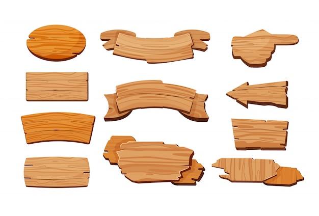 Conjunto de desenhos animados de placas de madeira